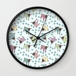 Pajama'd Baby Goats - Blue Wall Clock