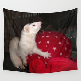 The Ivory Ferret and the Starry Red Bouncy House Wall Tapestry