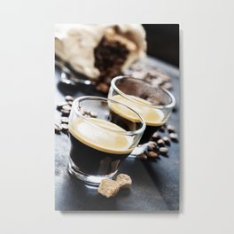 Cups of Espresso on dark rustic background Metal Print