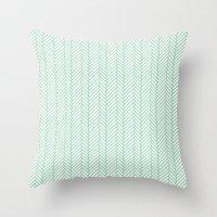 herringbone Throw Pillows featuring Herringbone Mint by Project M