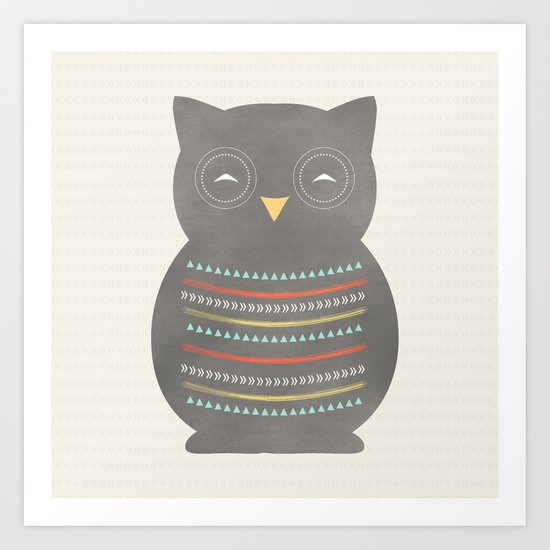 Dark Gray Owl Art Print
