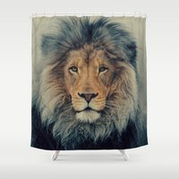 lion king Shower Curtains featuring Lion King by Urban Underdogs