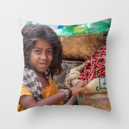 Girl with Chilies Throw Pillow