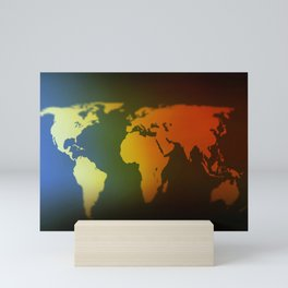 Day and night world map Mini Art Print