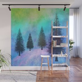 Pine Trees in the Northern Lights Wall Mural