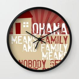 Ohana Means Family - Lilo & Stitch Wall Clock