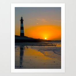 Lighttower at the Beach in Sunset Art Print