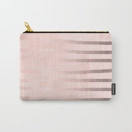 Rose Gold Pastel Pink Drawn Stripes Carry-All Pouch