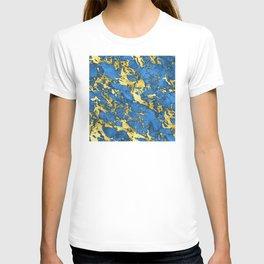 Teal Blue & Glam 24-Karat Gold Sparkle Faux Marble T-shirt
