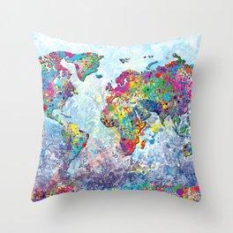 world map colors splats 2 Throw Pillow