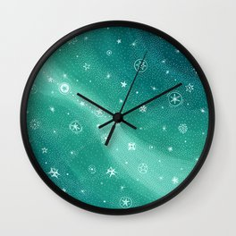 Stylized night sky - blue turqoise Wall Clock