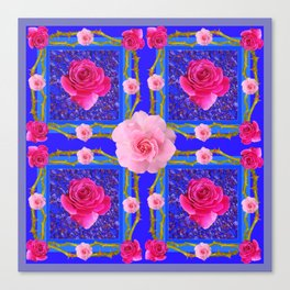 BLUE  GEOMETRIC ART CERISE & PINK FUCHSIA ROSES Canvas Print