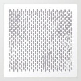 Minimalist Staggered Brush Strokes Silver Art Print