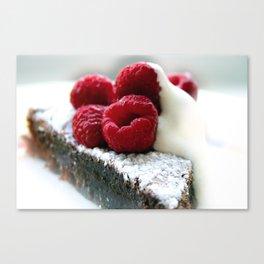 Chocolate Mud cake Raspberries Canvas Print