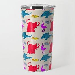 Elephant Print on Neutral Background Travel Mug