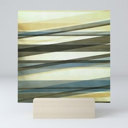Semi Transparent Layers In Sand Brown and Blue Mini Art Print