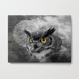 Black & White Great Horned Owl Bird Yellow eye Moon Tree A415 Metal Print