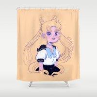 sailor moon Shower Curtains featuring Sailor Moon by Natali Koromoto