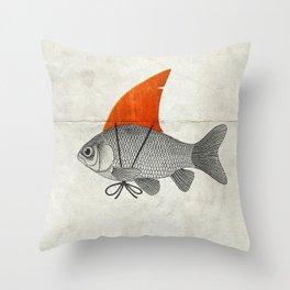 Goldfish with a Shark Fin Throw Pillow