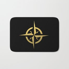 Compass Black & Gold - gold foil, gold, compass, black and white, trendy, luxe, gold phone Bath Mat