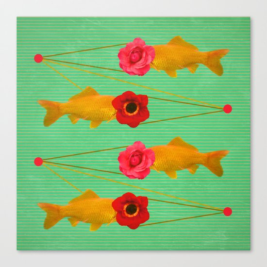 fishes and flowers Canvas Print