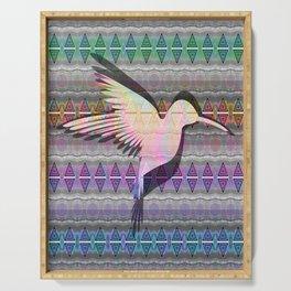 Iridescent neo-tribal hummingbird totem print Serving Tray