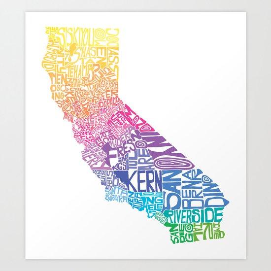 Typographic California - Springtime Art Print