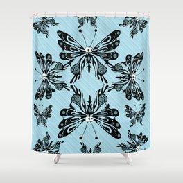 Bug Eyed Flutterbies Shower Curtain