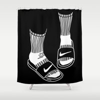 nike Shower Curtains featuring NIKE by Anna Berger