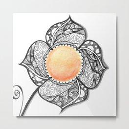 Orange Flower Inktense Zendoodle Metal Print
