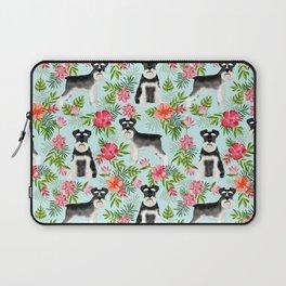 Schnauzer hawaii pattern floral hibiscus floral flower pattern palm leaves Laptop Sleeve