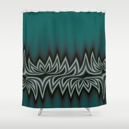 Fractal Tribal Art in Pacific Teal Shower Curtain