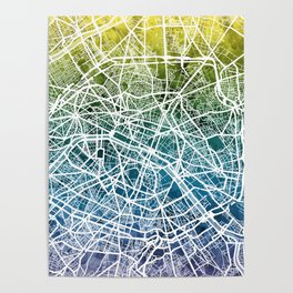 Paris France City Street Map Poster