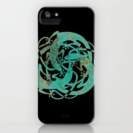 Lizards Mandala - Turquoise gold iPhone Case