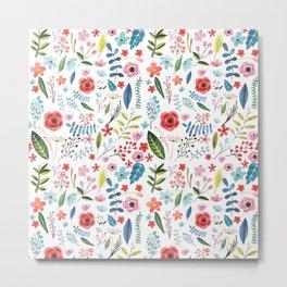Cute Colorful Flowers Pattern Metal Print
