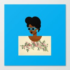 Postcard Woman Blue Canvas Print
