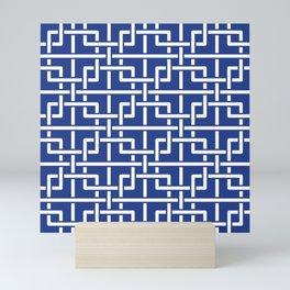 Tangled squares Chinoiserie in blue & white Mini Art Print
