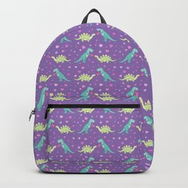 Cute Dinosaurs in Love, T-Rex is Giving a Heart to a Stegosaurus, Violet, Purple, Green, Mint Colors, Dinosaur Illustration and Pattern Backpack