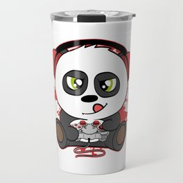 "Great Nice Game Tee For Gamer ""Panda Plying Like A Pro With Headphones On"" T-shirt Design Console Travel Mug"