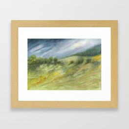 Precious Green Watercolor Landscape Framed Art Print