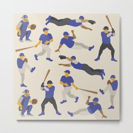 Pattern of Baseball Players in Blue Metal Print