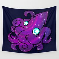 squid Wall Tapestries featuring Space Squid by Amanda Steuck