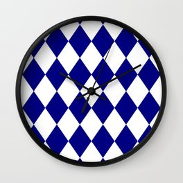 Diamonds (Navy Blue/White) Wall Clock