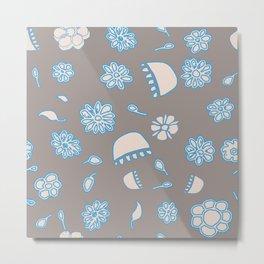 Flower border blue Metal Print