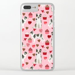 Border Collie valentines day cupcakes love hearts dog breed gifts collies herding dogs pet friendly Clear iPhone Case