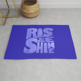 Rise and Shine - blue typography Rug