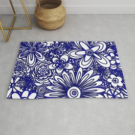 Abstract Floral Flower Pattern Blue and White Art by Megan Duncanson MADART Rug