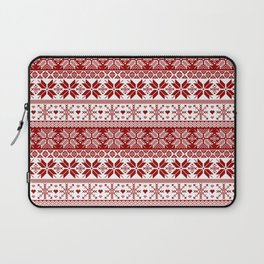 Red Winter Fair Isle Pattern Laptop Sleeve