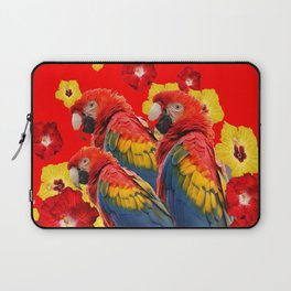 TROPICAL BLUE MACAWS & RED YELLOW HIBISCUS RED ART Laptop Sleeve