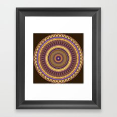 Groovy mandala with waves and tribal patterns in brown, yellow, blue and purple Framed Art Print